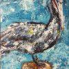 Purple Pelican Beach Bird Boardwalk watcher acrylic palette knife painting Original