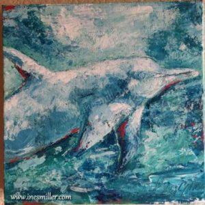 "Blue dolphin acrylic Palette Knife Painting Title: ""Blue Joy"""