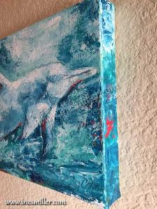 Dolphin Painting for sale Blue lagoon swimming dolphin acrylic Pallet Knife Painting