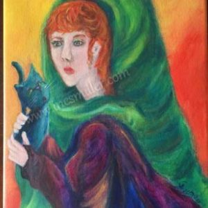 ORIGINAL acrylic painting of a red headed woman holding a black cat.