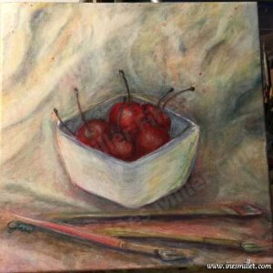 """Acrylic Painting 12""""X12"""" Bowl of Cherries and paint brushes Title: """" Simple life treasures"""""""