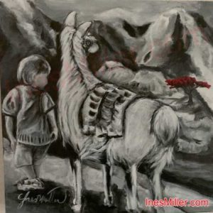 Boy and his llama wall art 12X12 original painting black and white mountains red tree