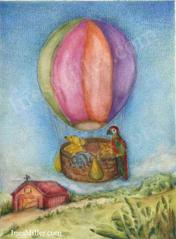 Hot Air Balloon animal ride country farm view painting whimsical art