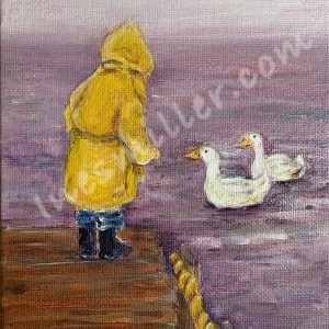 Morning at the lake small child on yellow raincoat greeting his two duck friends. 5X6 Mini painting Ines Miller