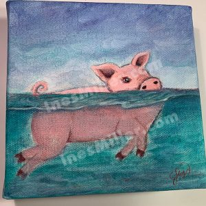 """Title: """"Swimming Pig"""" Size: 5""""5"""" X 1.5"""" thick wrapped canvas Cost: $55.00 Shipping$ $7.50 My inspirations behind this whimsical painting of a pink pig swimming came from The natural place in The Bahamas, an inhabited Island known as the 'Official Home of the Swimming Pigs' where feral pigs enjoy their every day swimming session. Tourists to this beautiful islands with turquoise waters are happily embracing the unique and special experience of swimming with the pigs on the uninhabited island of Big Major Cay, this place which is home to these special creatures and affectionately called through the times now and known as """"Pig Beach""""."""