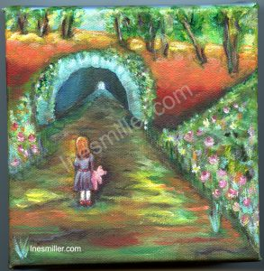 small painting for sale, flower tunnel entry little holding pink teddy bear.