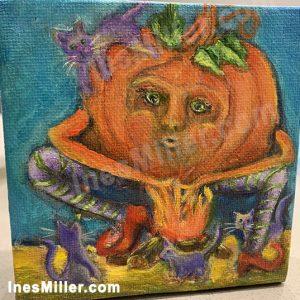 friendsbythecampfire-halloweenpumpkingandcats-InesMillerart-surreal art